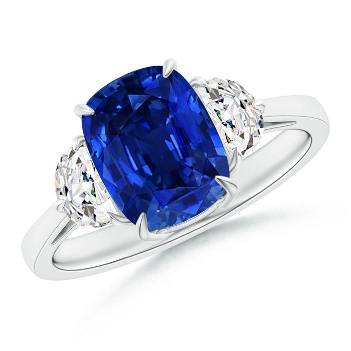 Angara Sapphire Ring - GIA Certified Cushion Sapphire Ring with Half-Moon Diamonds ZRZd15e