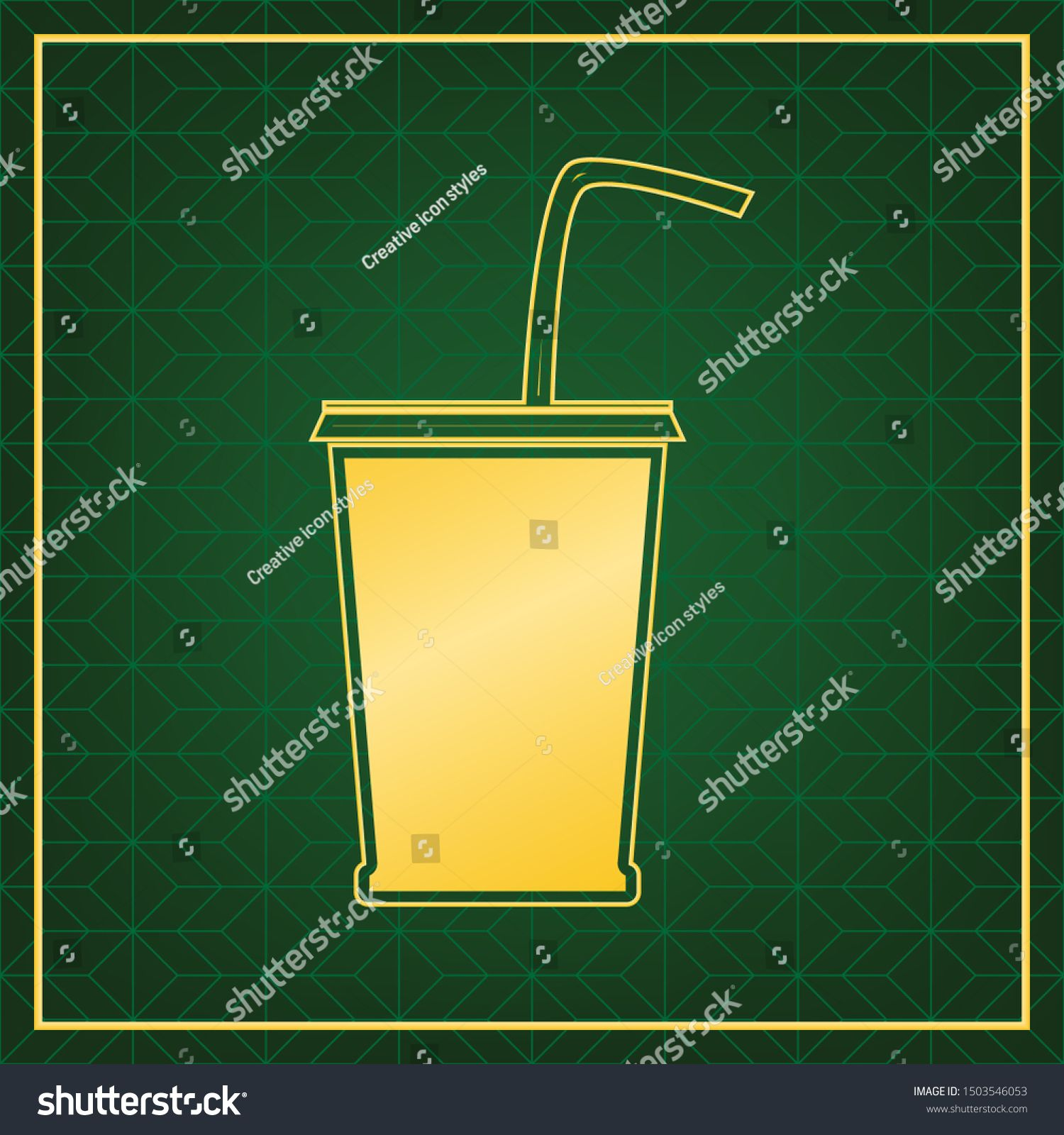 Drink sign illustration. Golden icon with gold contour at dark green gridded white background. Illustration. #Sponsored , #Aff, #Golden#icon#gold#Drink