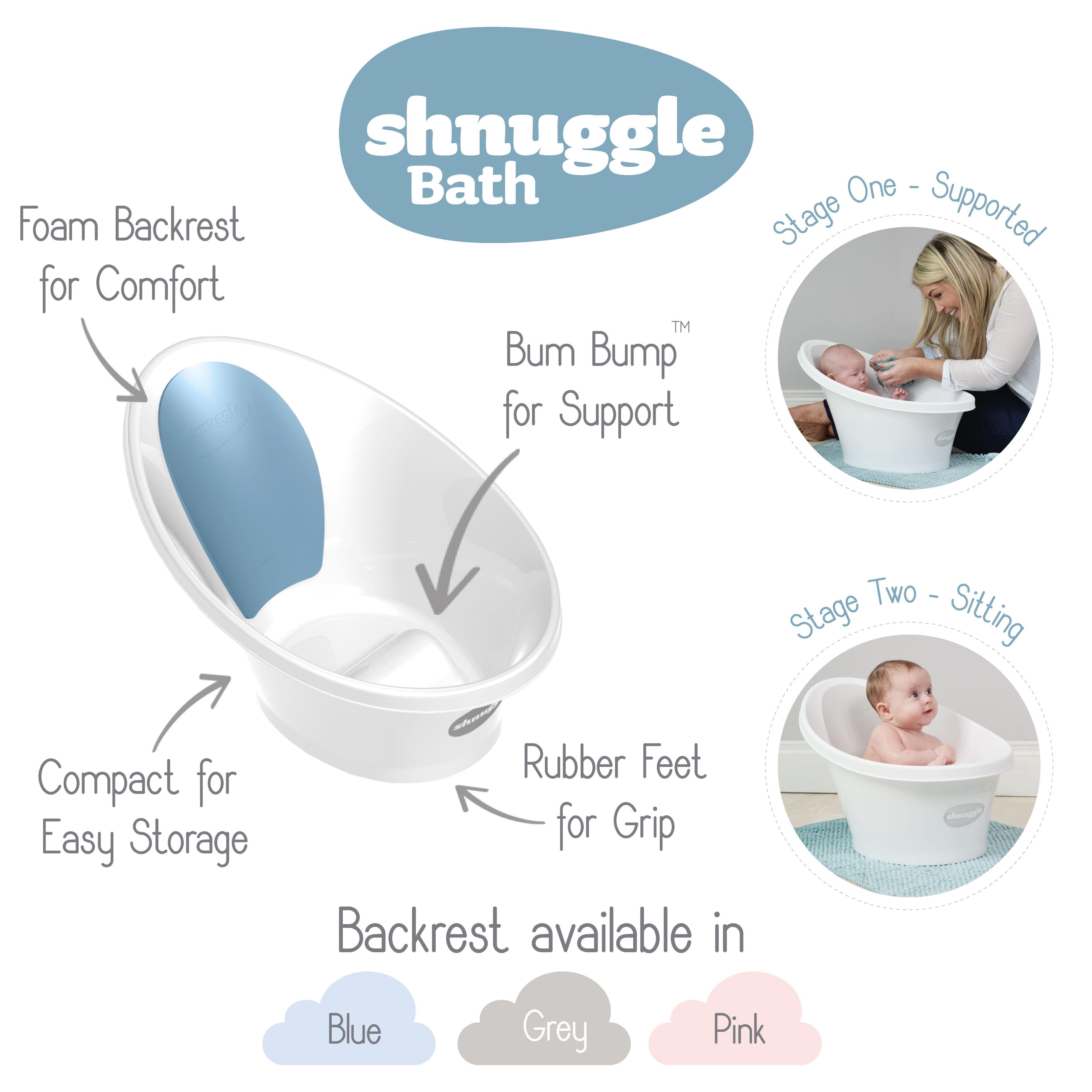 Shnuggle Baby Bath Tub Wash Foam Backrest Bum Bump Support Washing Bathing Pink