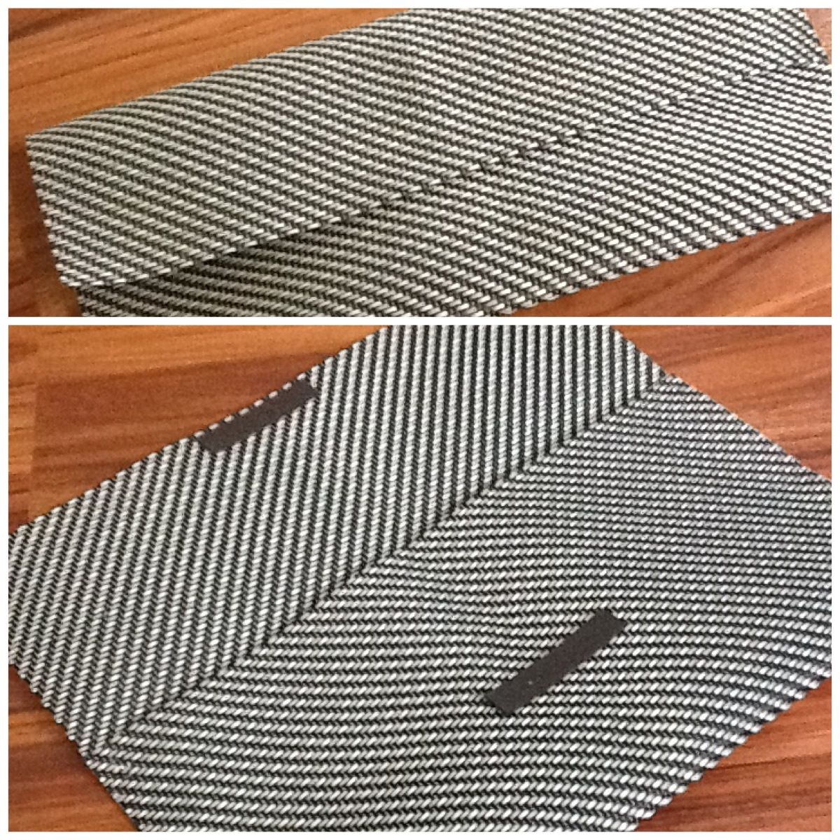 Made this cute clutch out of placemat...fold the mat with about 4 inches for the flap, hot glue or tacky glue the edges, add magnets or snaps, etc to close...voila! Cheap cute clutch