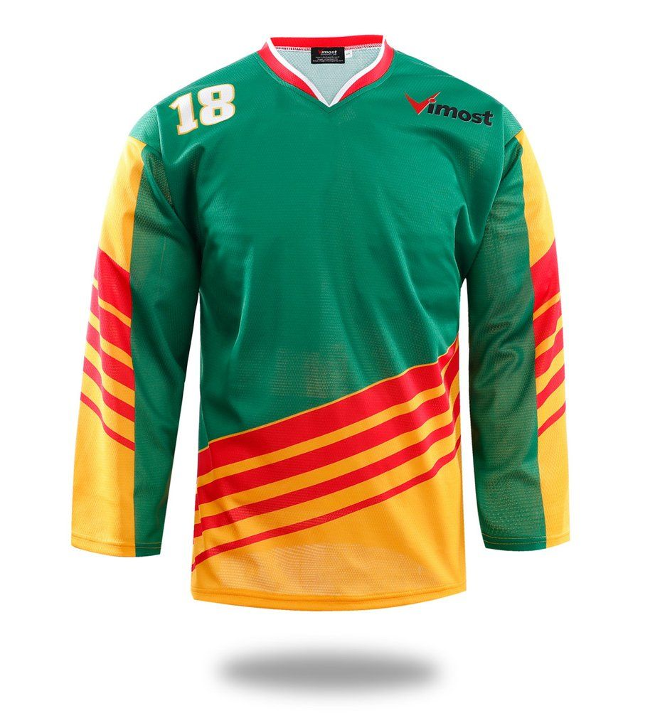 Sublimated Green Ice Hockey Jersey Hockey Shirts Red Design Red Green Yellow