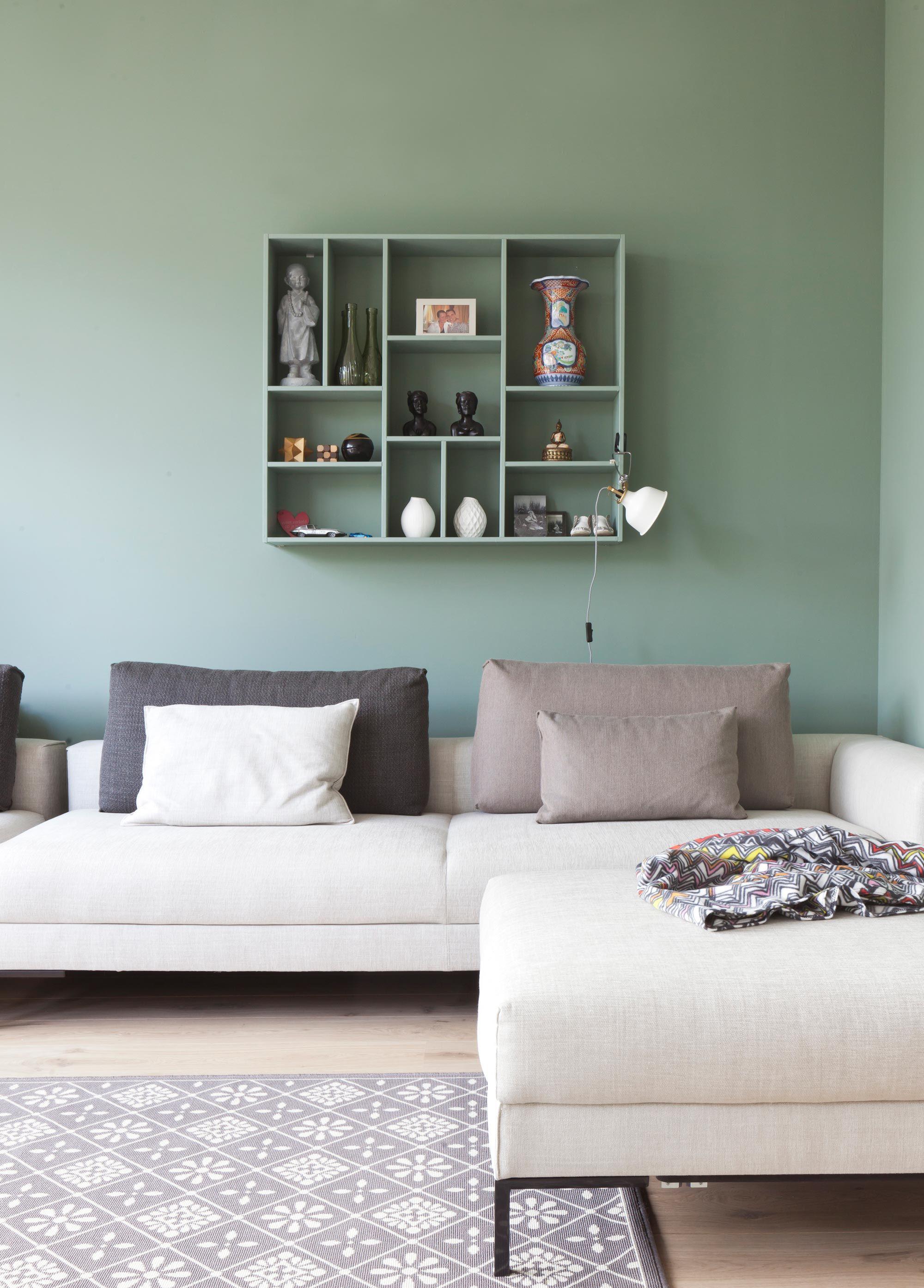Groene zetel Woonkamer t Interieur Huiskamer en Voor