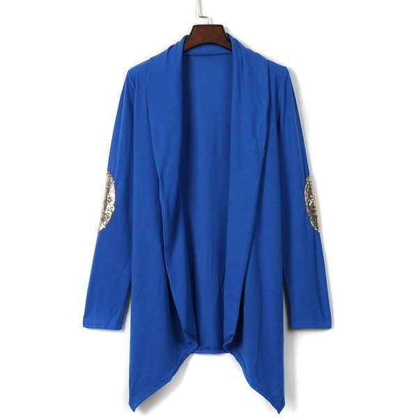 Blue Patch Elbow Sequin Detail Long Sleeve Waterfall Cardigan ($25 ...