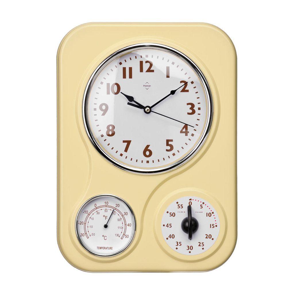 Wall Clock, Timer/Temperature Display, Cream Plastic | Clocks ...