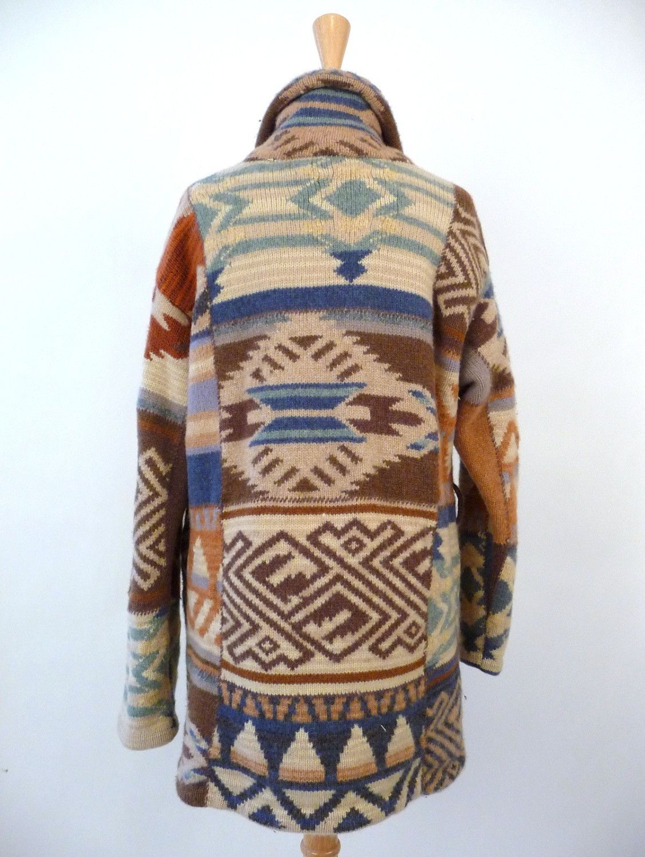 dea7e5b29 Ralph Lauren Indian Blanket Sweater Cardigan Navajo Top Hippie Boho ...
