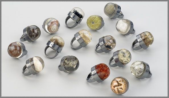 Designer Tom Ferrero creates his Journal rings by encasing found objects in resin. The silver is then marked with the exact location where the object was discovered.