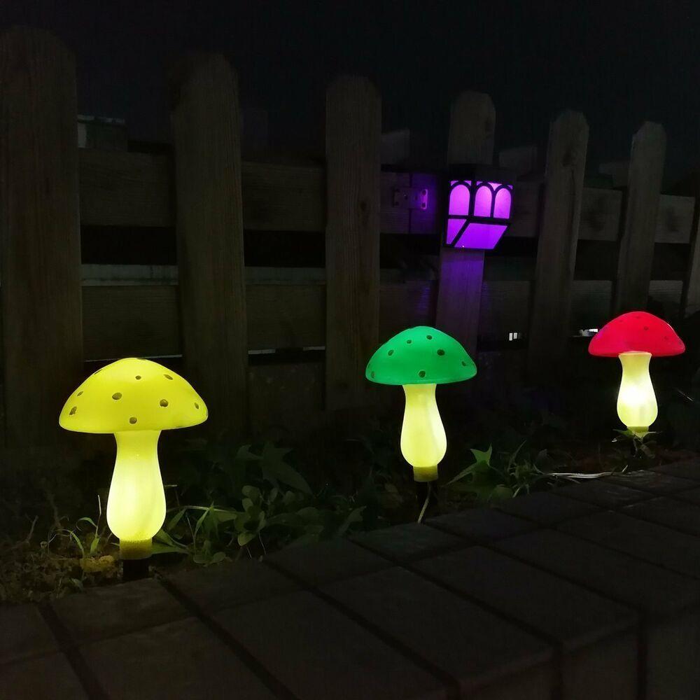 Led Solar Decor Outdoor Solar Garden Lights Solar Powered Mushroom Lights Led Decor Led Decor Ideas Solar Lights Garden Holiday Party Lights Mushroom Lights