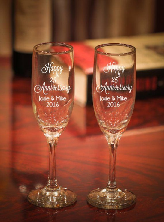 efd3638df78 Anniversary Champagne Glasses, Etched 25th Anniversary Gift, Wedding  Anniversary Champagne Flutes, 2