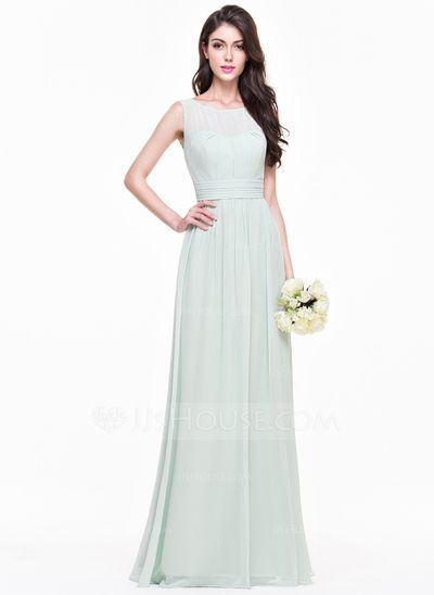 A-Line/Princess Scoop Neck Floor-Length Ruffle Zipper Up Regular Straps Sleeveless No Other Colors Summer Fall General Plus Chiffon Bridesmaid Dress