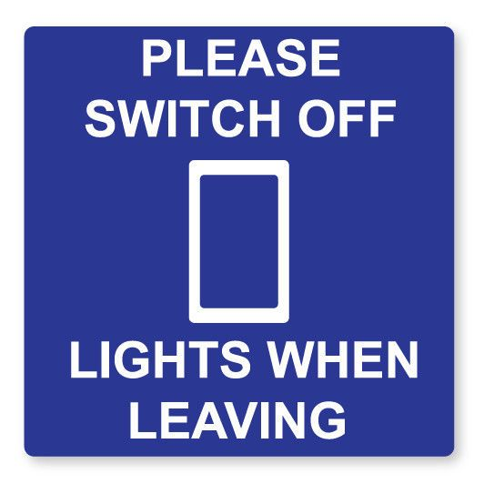 UK LIGHT SWITCH STICKERS 2 x PLEASE SWITCH OFF LIVING ROOM BEDROOM DECOR