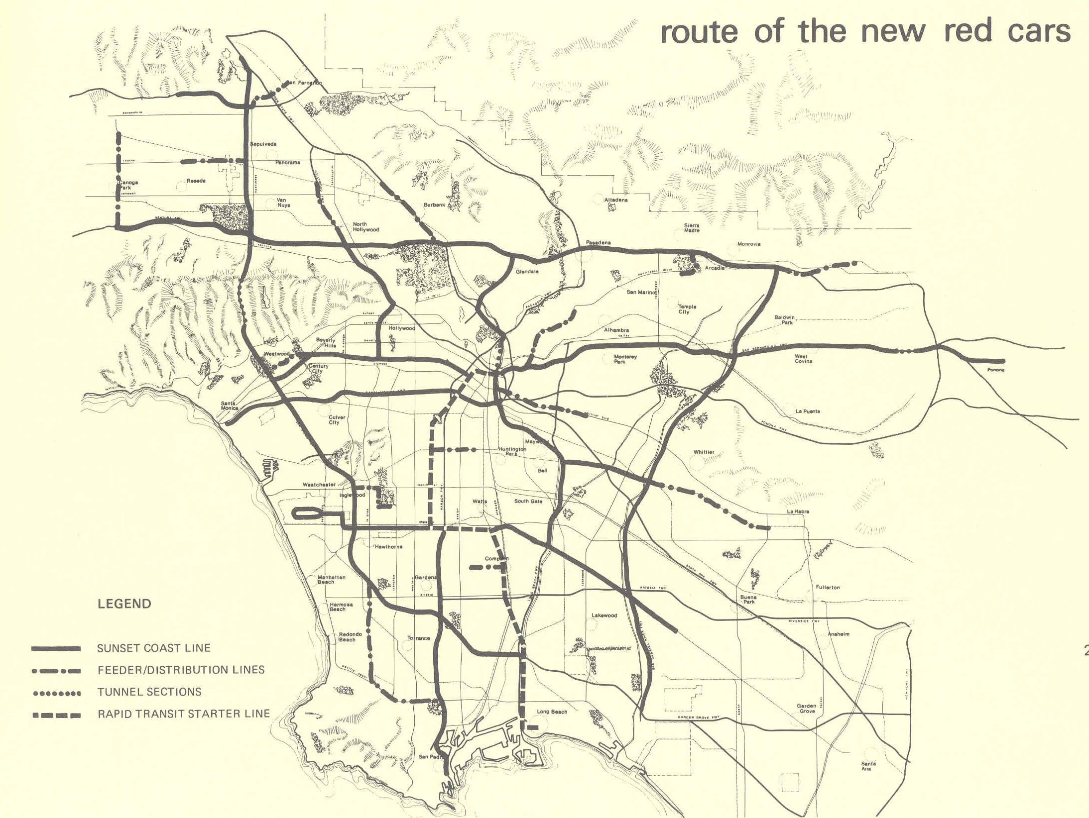 1976 Proposed Sunset Coast Rapid Transit Master Plan Map The New