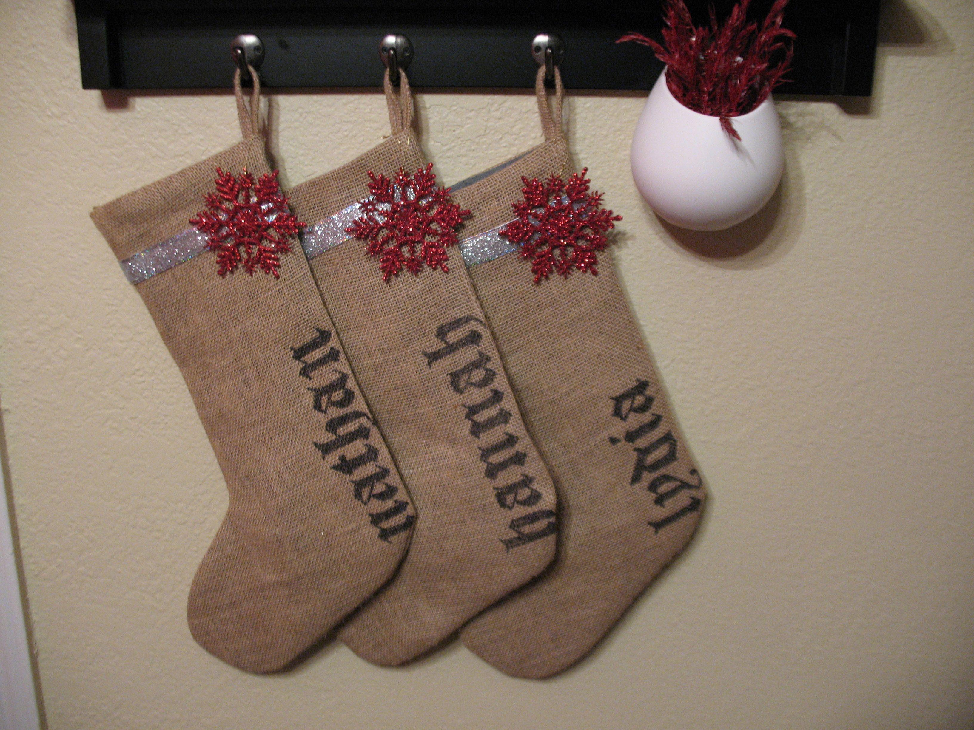 Personalized Burlap Stockings Burlap Christmas Stockings