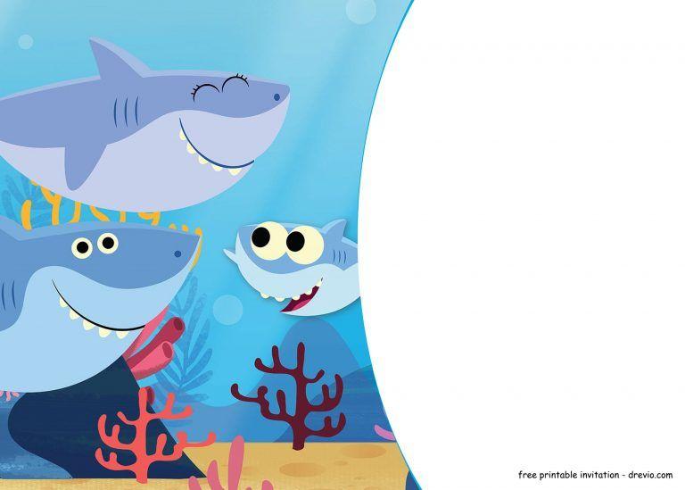 Free Printable Baby Shark Pinkfong Birthday Invitation Template Updated Shark Birthday Invitations Shark Birthday Party Invitation Boy Birthday Invitations