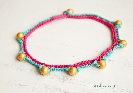 Crochet Beads Necklace or Bracelet Free Pattern Tutorial ♡ Teresa Restegui http://www.pinterest.com/teretegui/ ♡