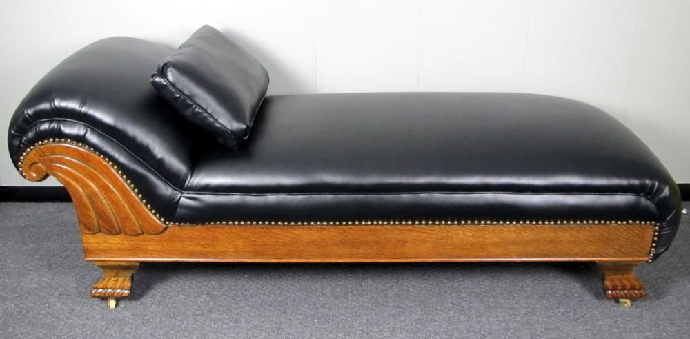 Refinished antique oak recycled leather fainting couch for Fainting couch