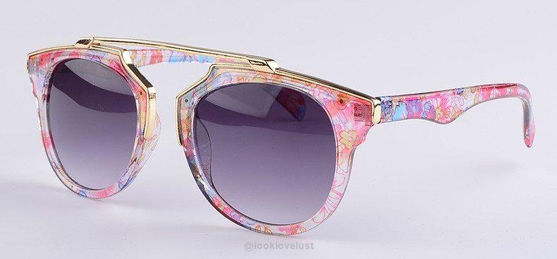 Women's Cat Eye Fashion Sunglasses - purple flower frame - Accessories, Look Love Lust