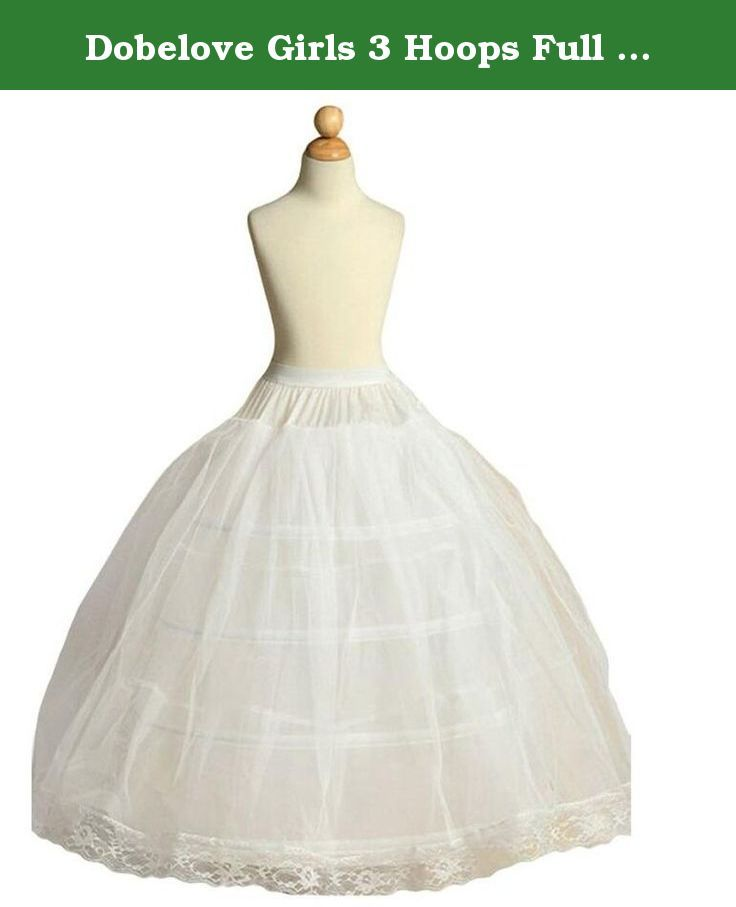4b54b1cbb Dobelove Girls 3 Hoops Full Slip Crinoline Petticoat Skirt (OneSize, White).  Perfect for Flower Girl Dress, Communion Dress, Pageant Dress, Bridal  Wedding ...