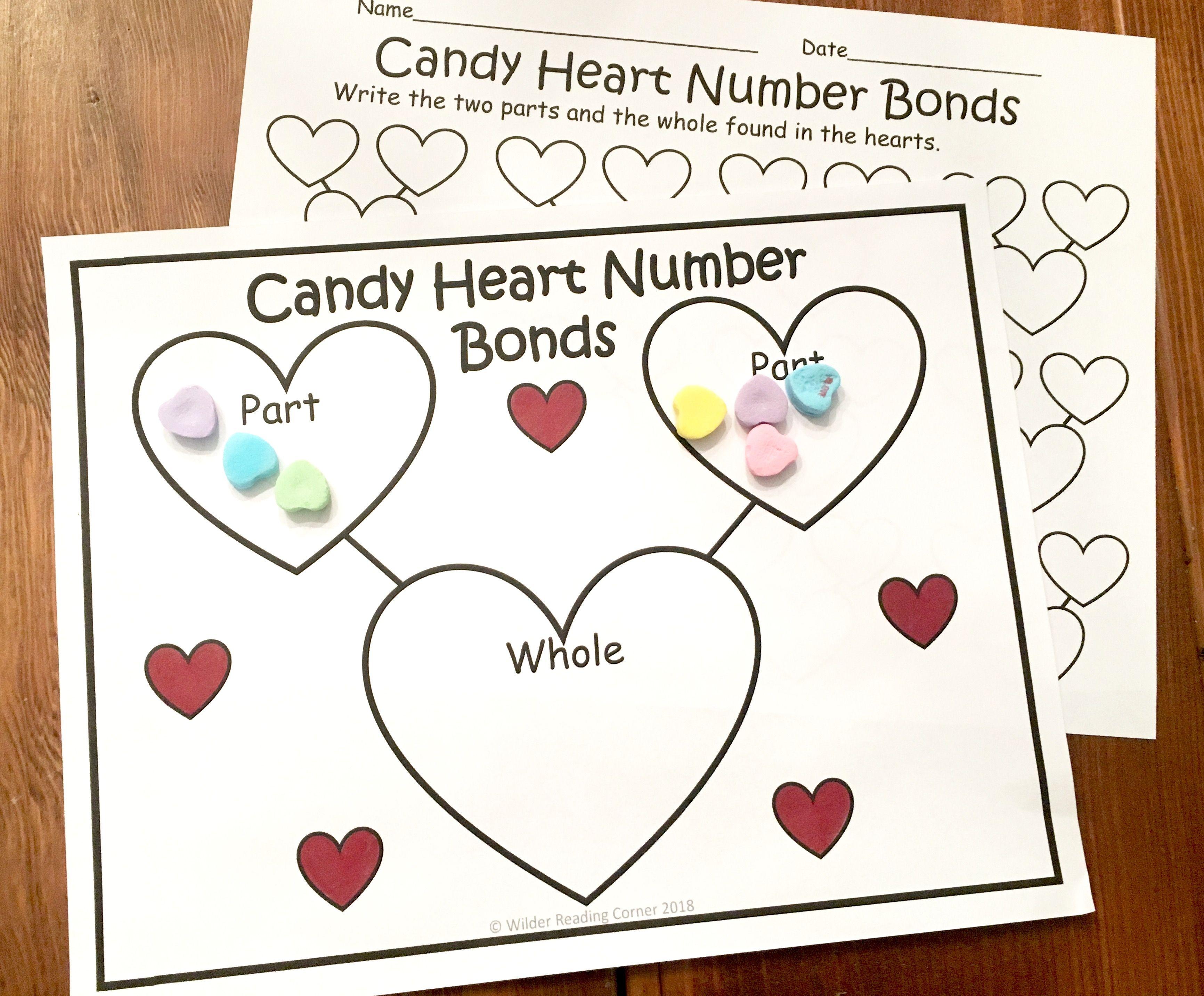 Valentine\'s Day Composing Kindergarten Math Center- Candy Heart ...