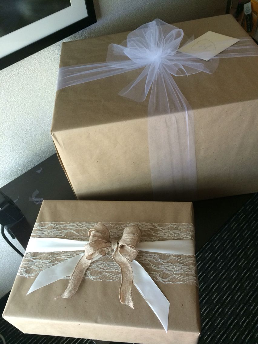 Brown Kraft Paper Lace Tulle Ribbon Wedding Gift Wrap Rustic Gift Wrapping Wedding Gift Wrapping Kraft Paper Wedding