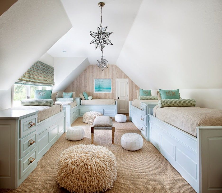 Bedroom Charming Attic Room Decoration With Bunk Beds Using Cream ...