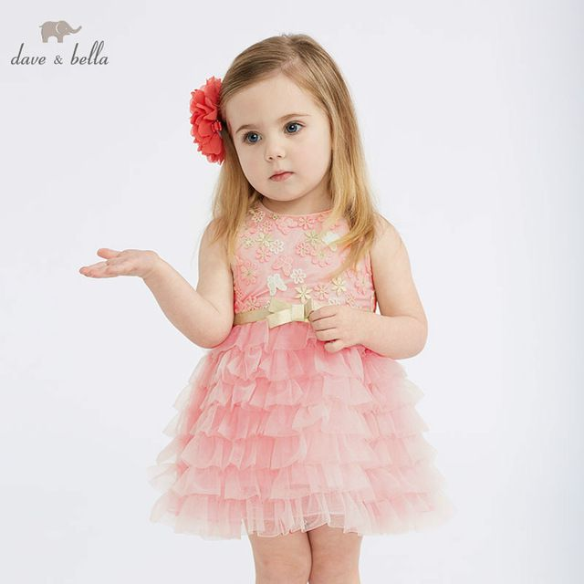 DBM10312 DAVE BELLA summer baby girl princess clothes children birthday party wedding dress kids embroidered boutique dresses | www.smilys-stores.com
