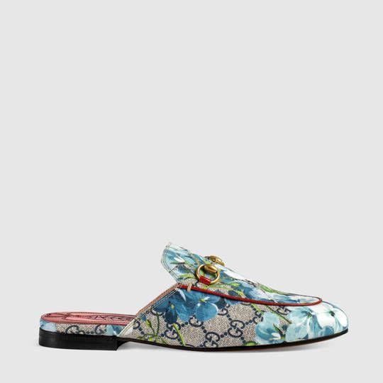 Slipper Princetown in tessuto GG con stampa Blooms Gucci RVemCgqO