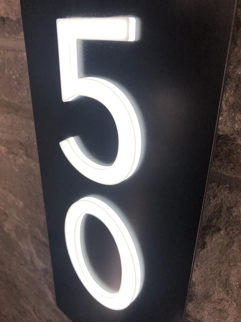 Custom Vertical Led Address Sign Plaque With 4 White Etsy In 2020 Address Sign Custom House Numbers Plaque Sign