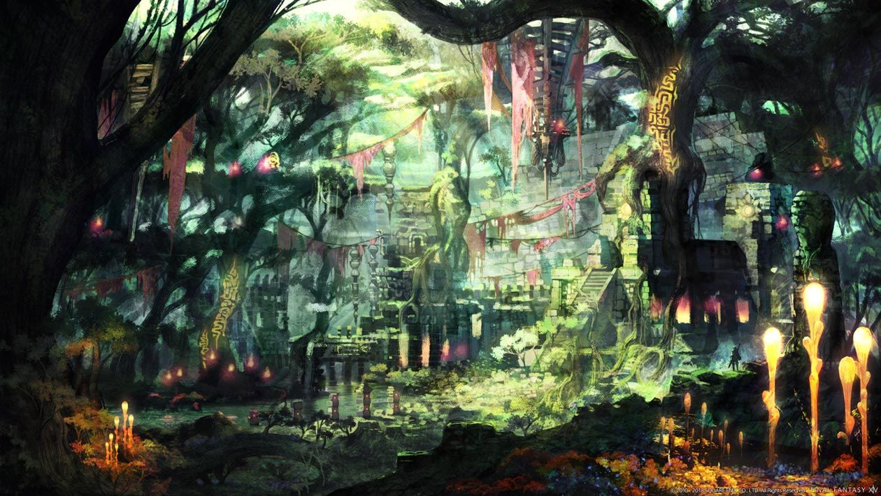 Rak-Tika Greatwood environment artwork from Final Fantasy XIV