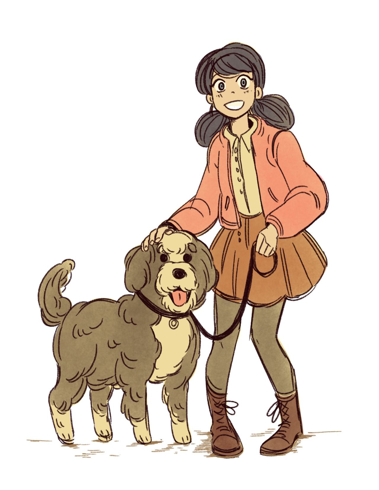 marinette and a big fluffy pup :')  - alex chiu's art blog