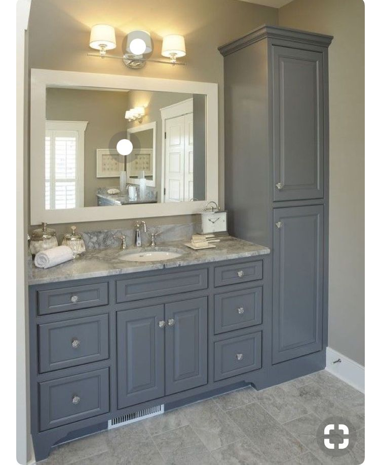 This Is The Shape Of My Vanity But With The Tall Cabinet On The