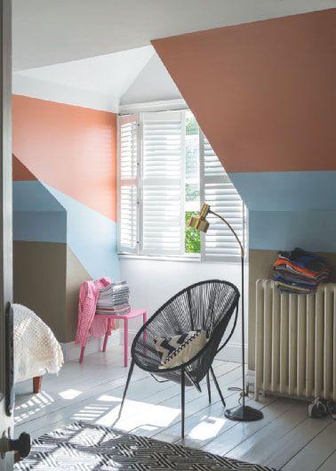 Peinture chambre sous pente couleur taupe bleu corail - Deco chambre sous pente ...