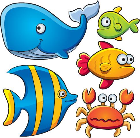 Animales marinos tipo cartoon 02 | Dibujos de animales, Animales ...