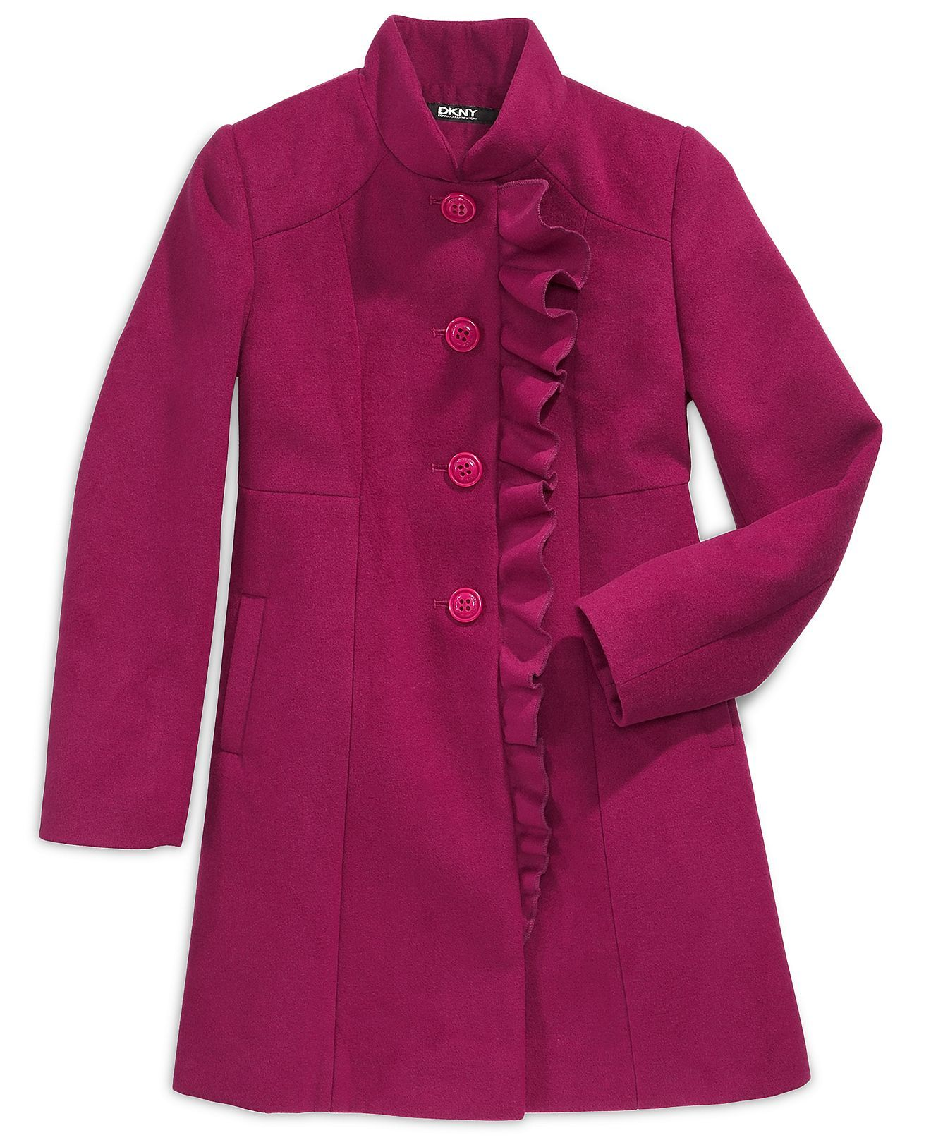 DKNY Kids Jacket, Girls Asymmetrical Ruffle Coats - Kids Girls 7 ...