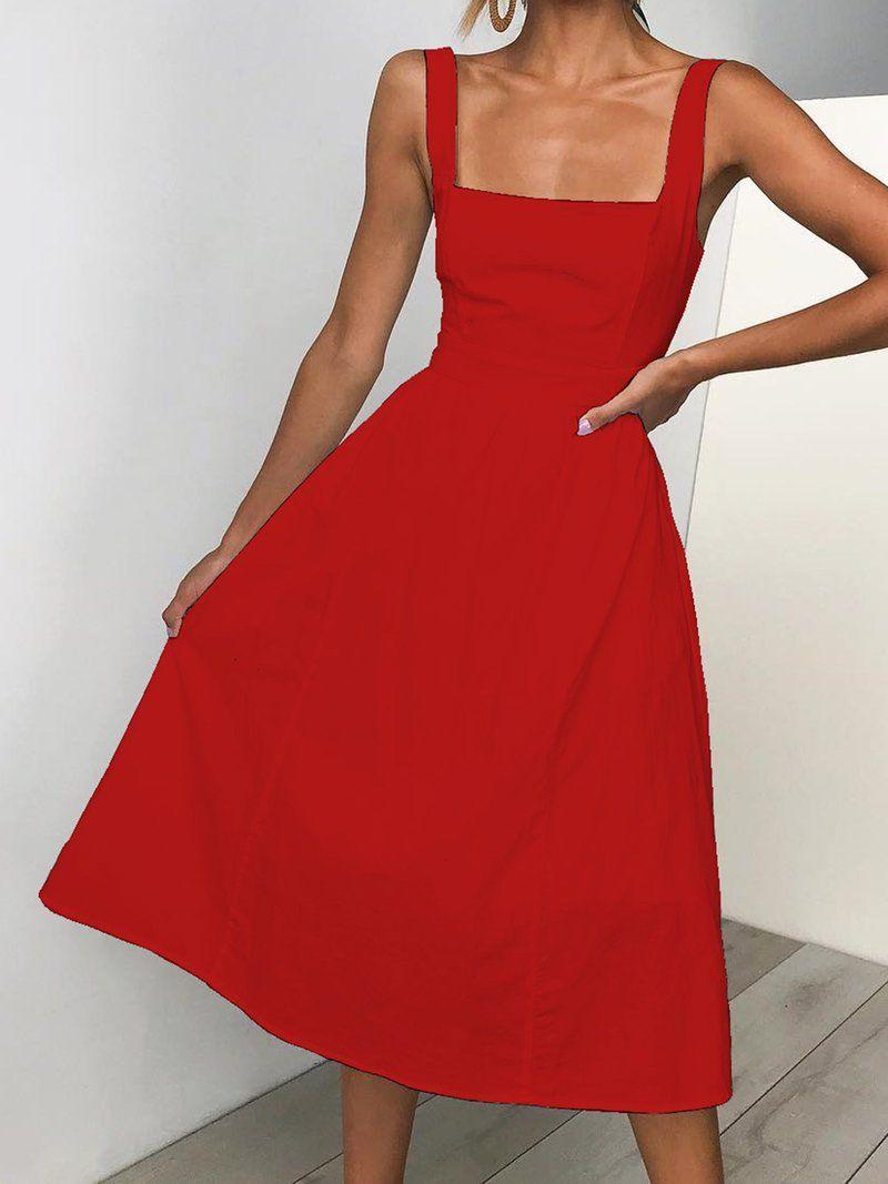 Women Summer Dresses A-Line Daily Casual Dresses | Dresses | aws.popzora Summer Dresses Sundress Casual A-Line Sleeveless Paneled Sweet Dresses