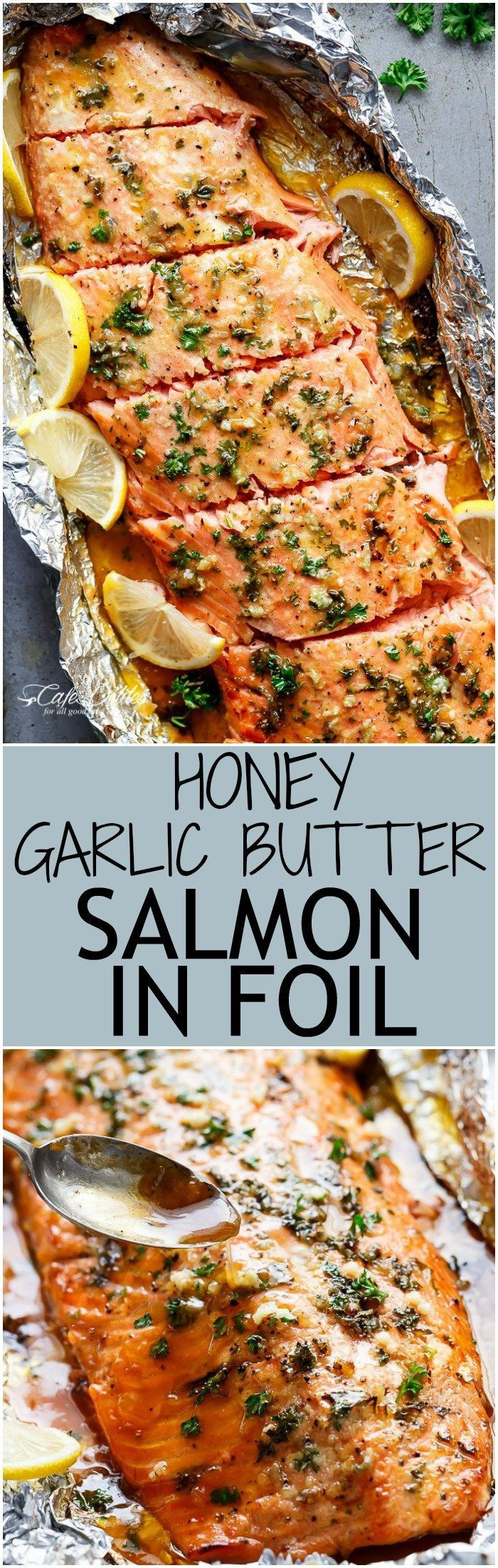 Honey Garlic Butter Salmon In Foil in under 20 minutes, then broiled (or grilled...,  #broiled #Butter #Foil #freshseafood #Garlic #Grilled #honey #minutes #Salmon #seafoodbake #seafooddishes #seafoodindonesia