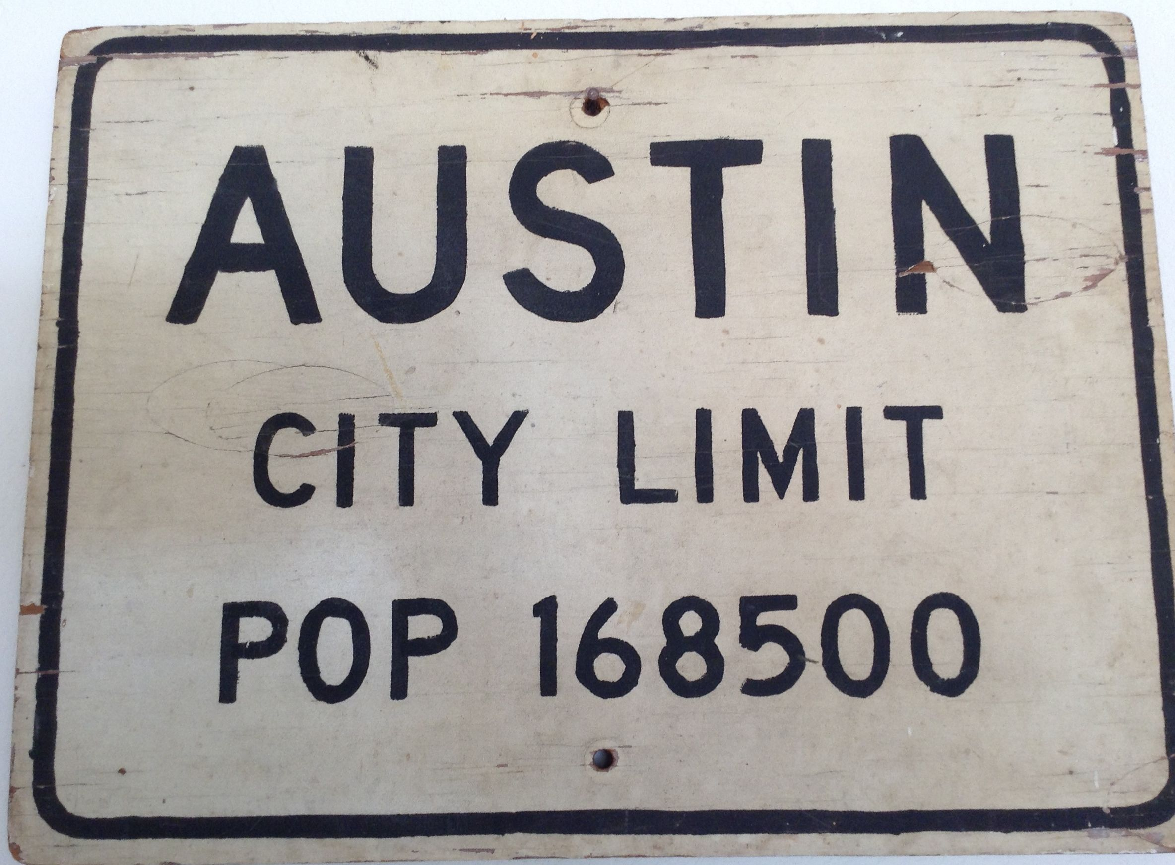 Austin city limits sign from the 1950s the population has grown austin city limits sign from the 1950s the population has grown a little since then aiddatafo Image collections