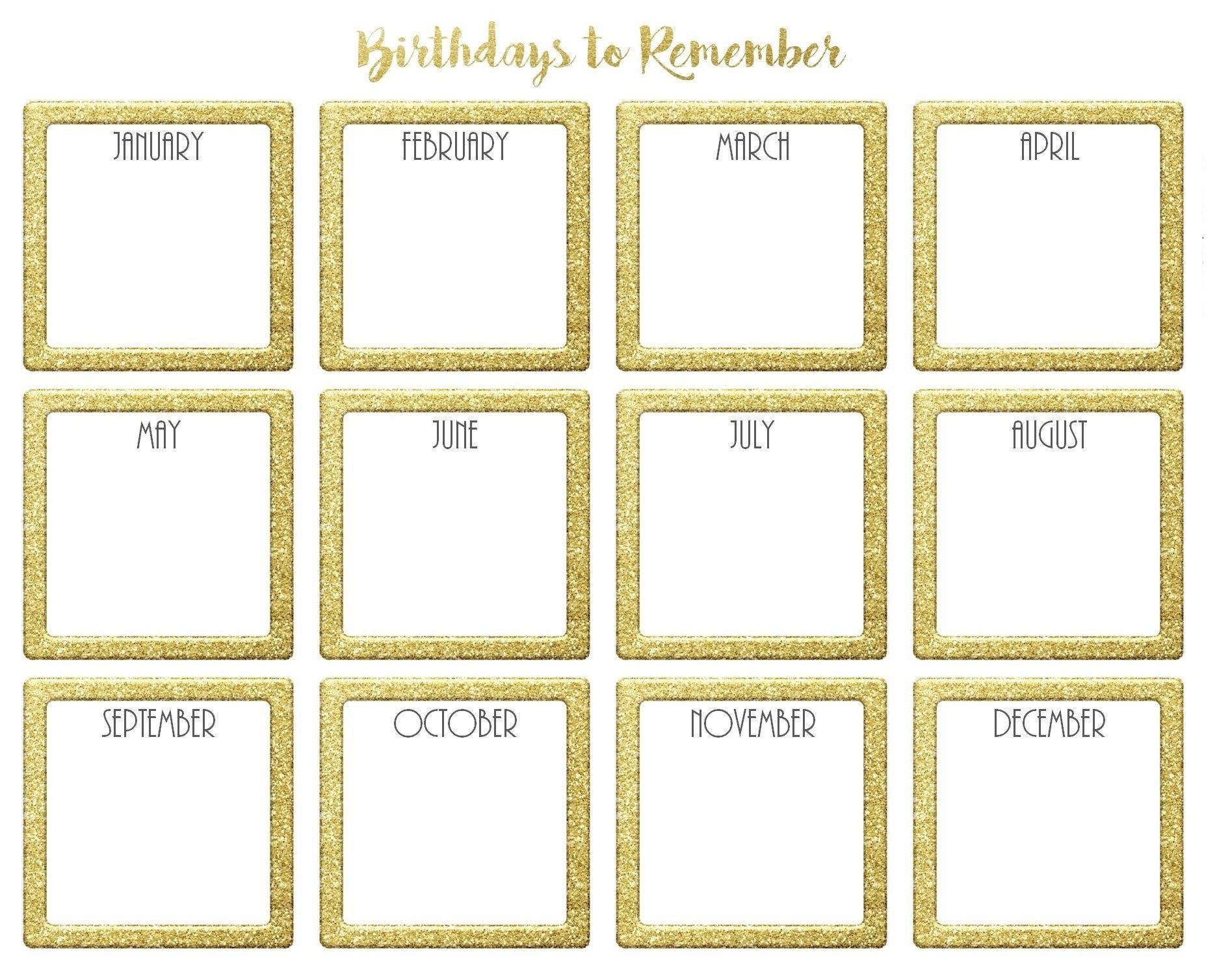 Birthday Calendar Template Free Microsoft Word