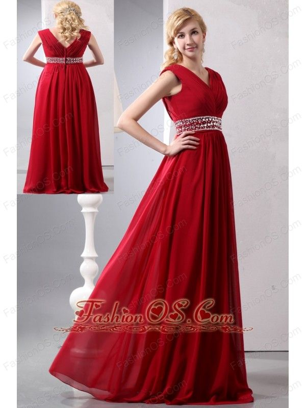 Modest Wine Red Empire V-neck Plus Size Prom Dress Floor-length ...