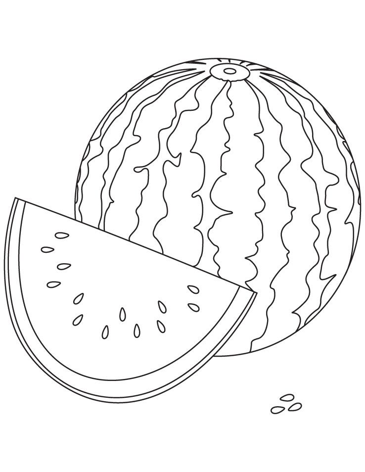 Watery watermelon coloring pages  Kids Summer Coloring Fun