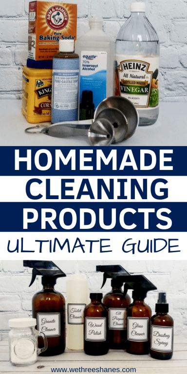 Want to ditch the chemicals found in commercial cleaners and save some cash? Check out how easy it is to make natural cleaning products using eco-friendly items you most likely have at home. Save some green while going green!  We Three Shanes