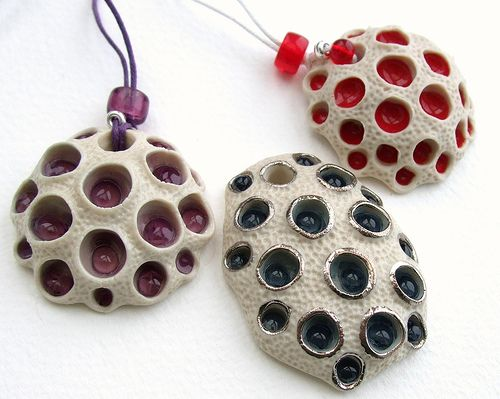 Coral Porcelain and Glass Pendants