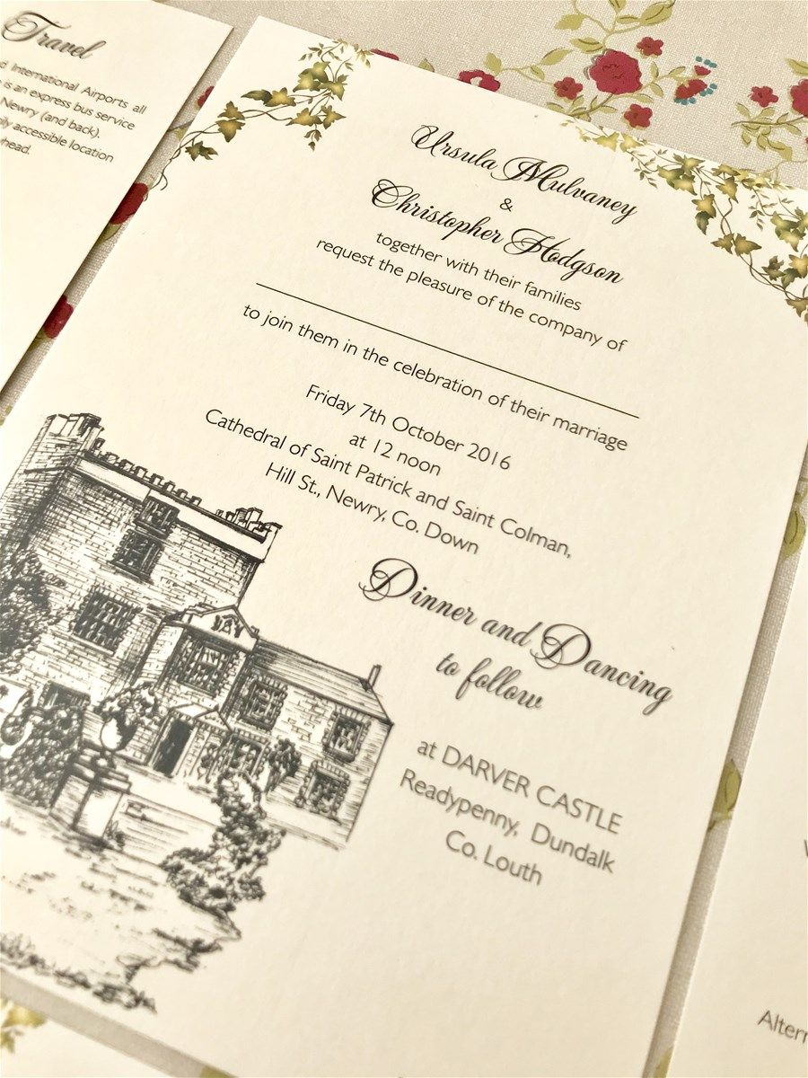 Venue Illustration Invitations Darver Castle Wedding