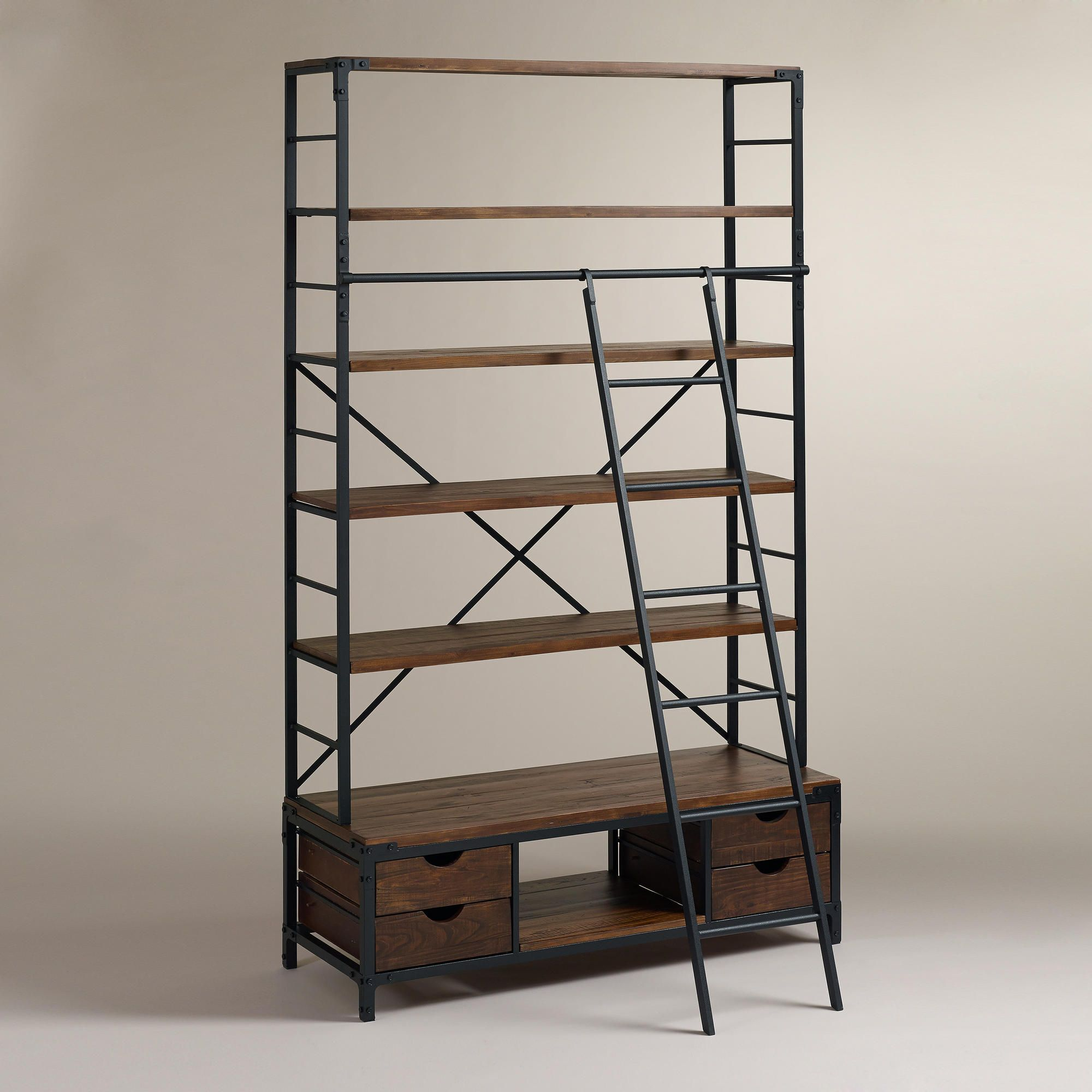 Metal Bookcase And Ladder