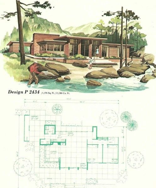 Modern House Designs And Floor Plans Free Unique Pleasing: Vintage 1960s MidCentury Modern Mountain/Lake House Plans