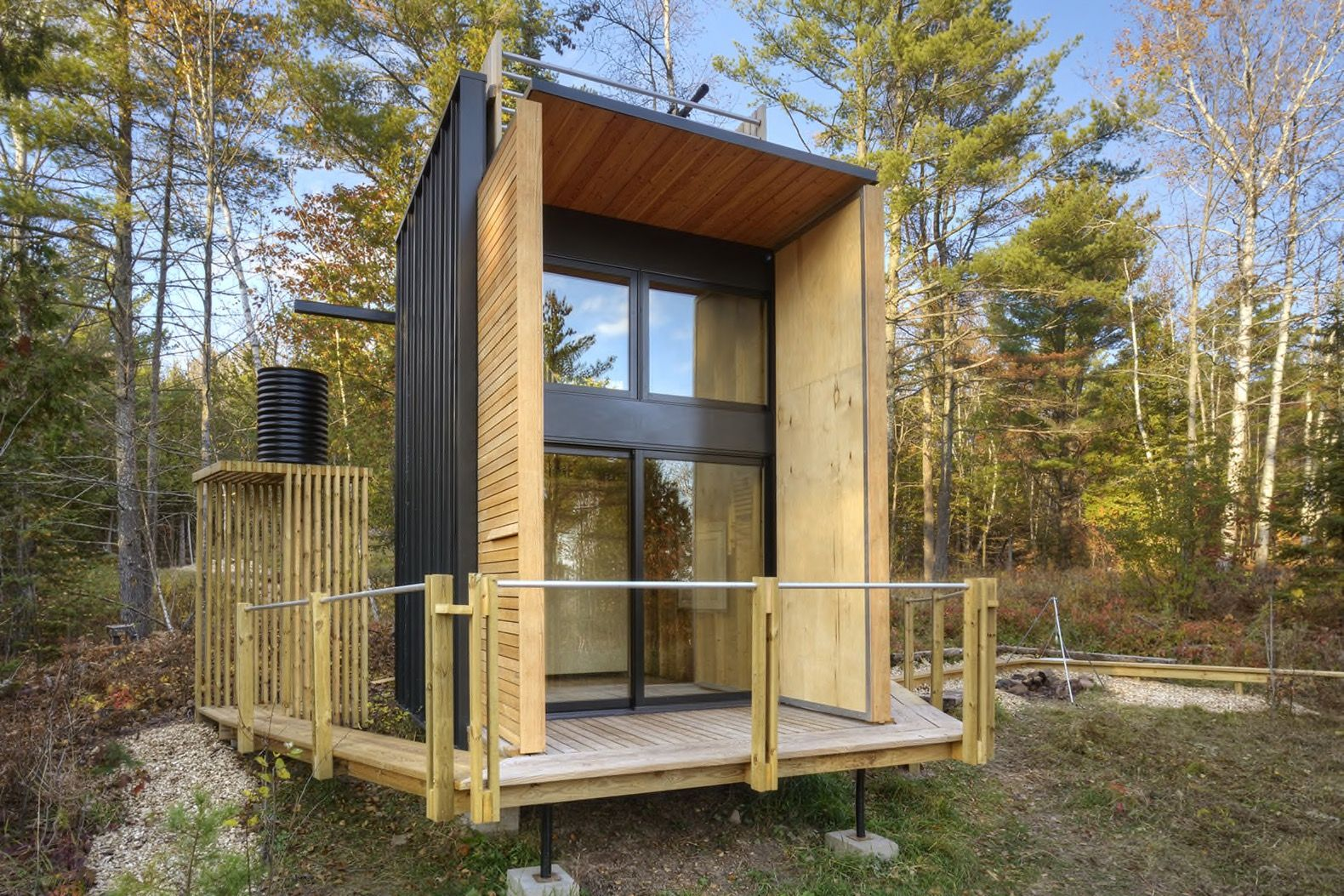 Father And Son Build A Tiny Off The Grid Cabin In
