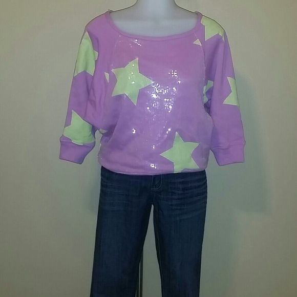 HARD CANDY STAR SWEATSHIRT Lime green and purple top. Very comfortable and stylish Hard Candy Tops Sweatshirts & Hoodies