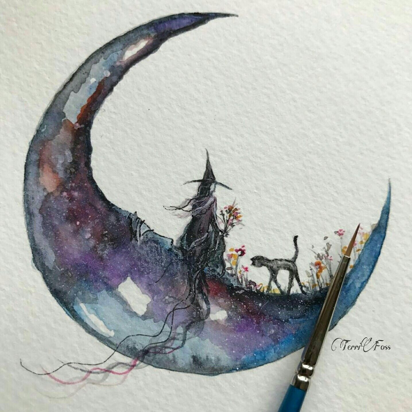 Clair De Lune Art Abstrait Aquarelle Dessin Halloween Dessin