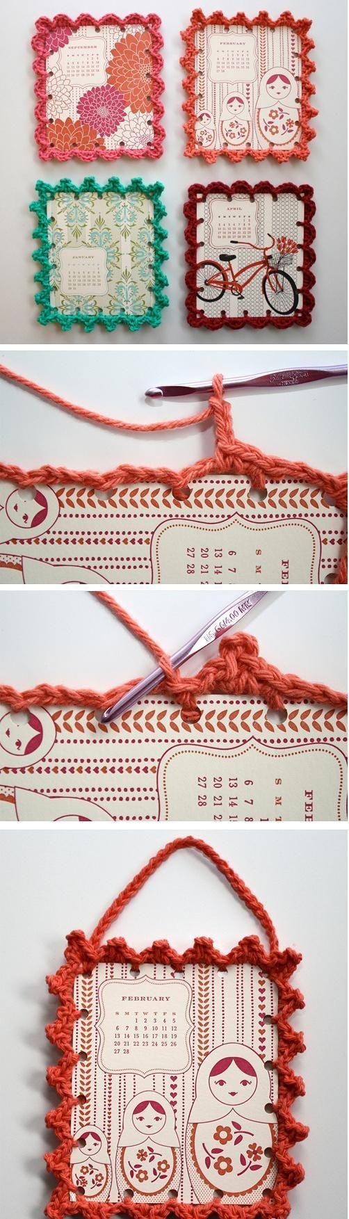 别致的相框 fun idea. Print patterns on card stock. Punch small holes on sides and pick a crochet fringe you like. Crochet around pic and add single loop crochet for handle. I would punch holes as you go just so you can get an idea of your gage first. Just an idea.