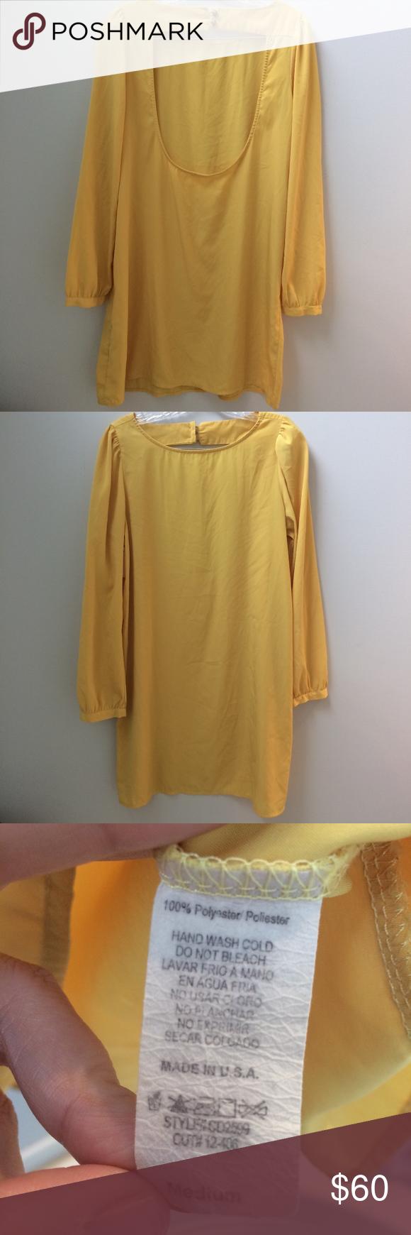 Beautiful yellow backless long sleeve dress yellow dress sleeved