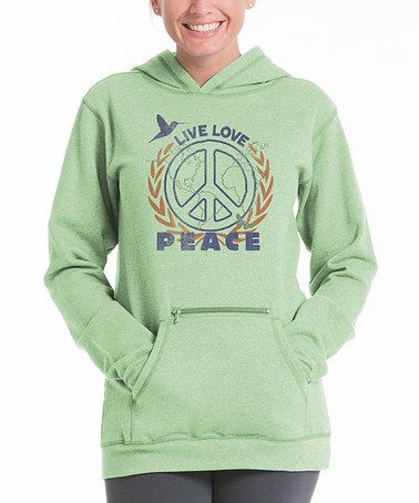 Take a look at this Pistachio 'Peace' Zip Pocket Hoodie by lur® on #zulily today!